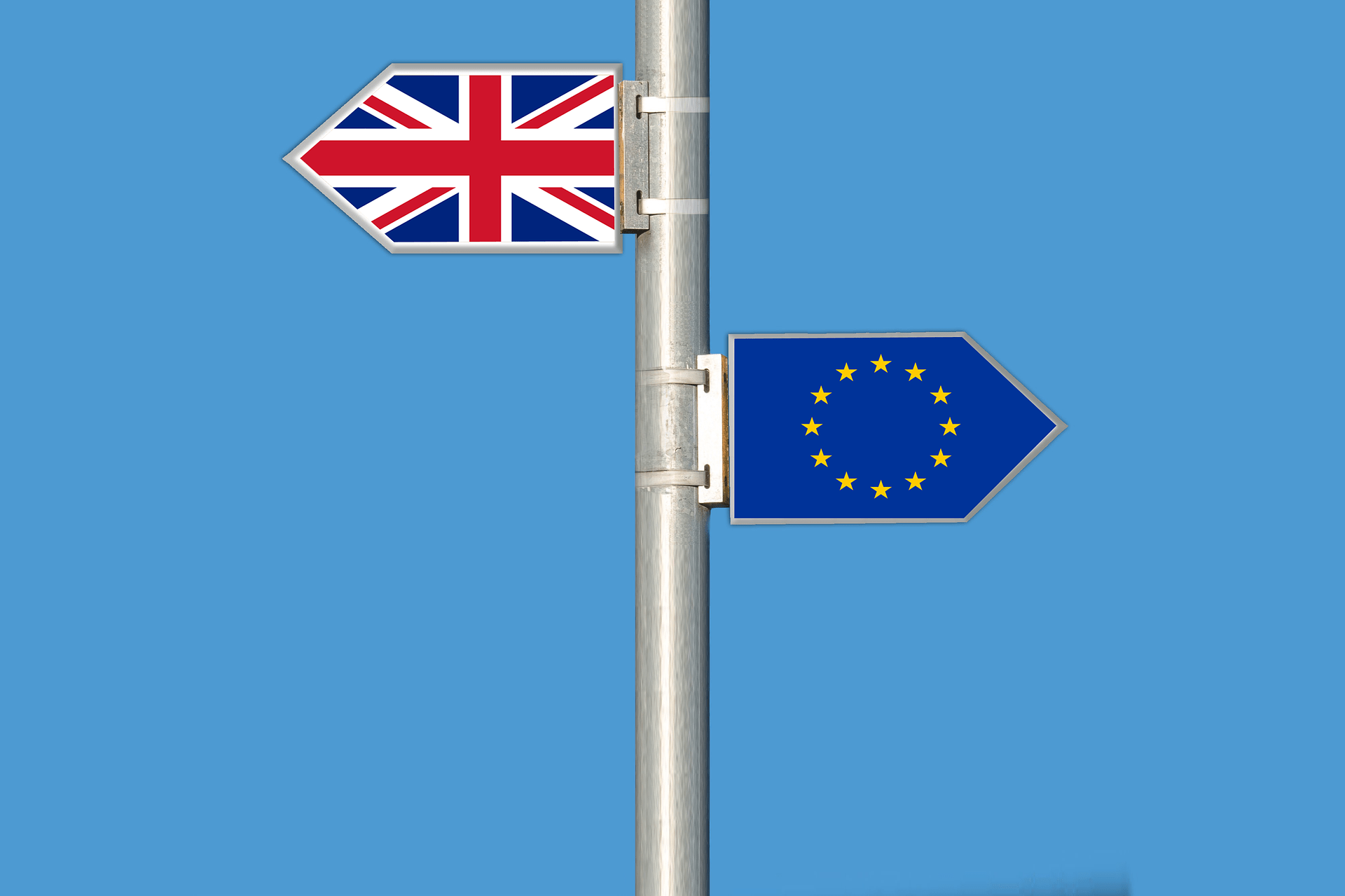 British flag and EU flag pointing in different directions