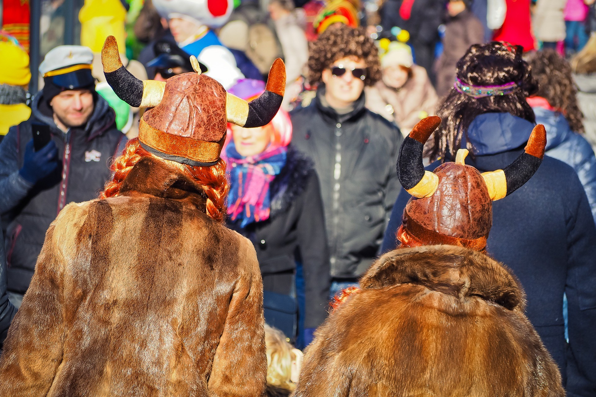People wearing German Carnival costumes